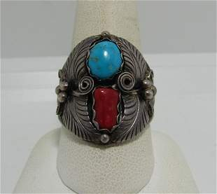 SIGNED RED CORAL TURQUOISE STERLING RING SIZE 10