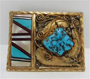 SIGNED MONTE INLAID STERLING GOLD BELT BUCKLE