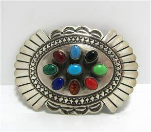 DELGARITO MULTICOLOR STONE STERLING BELT BUCKLE