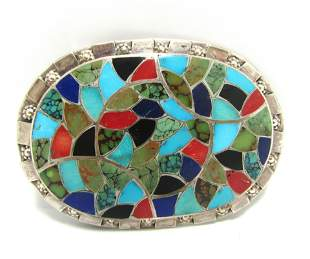 RARE SIGNED HALOO TURQUOISE STERLING BELT BUCKLE