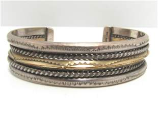 SIGNED TAHE FIVE ROW STERLING GOLD KNIFE EDGE CUFF