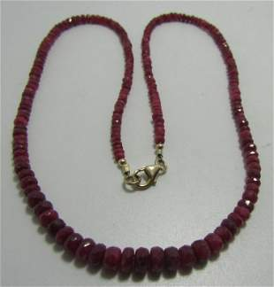 50CT GENUINE RUBY BEAD NECKLACE 14K GOLD FACETED