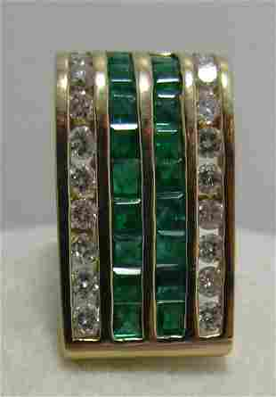 2.75CT EMERALD & DIAMOND 14K GOLD SLIDE PENDANT