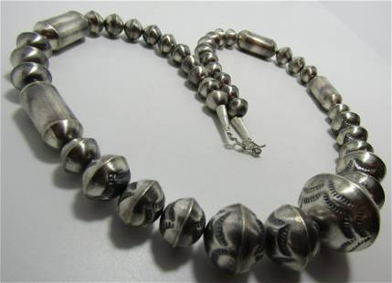 NAVAJO PEARL 28MM BEAD NECKLACE STERLING SILVER