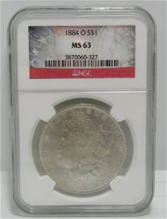1884 O SILVER MORGAN DOLLAR COIN MS 63