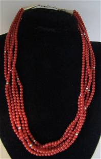 5 STRAND RED CORAL BEAD NECKLACE STERLING SILVER