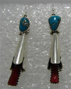 """""""RB"""" TURQUOISE CORAL EARRINGS STERLING SILVER"""