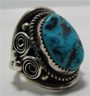 """""""LMC"""" TURQUOISE RING STERLING SILVER SIZE 10 HUGE"""
