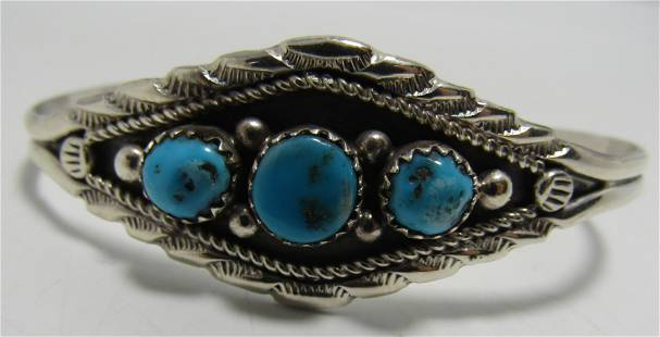 COWBOY TURQUOISE CUFF BRACELET STERLING SILVER