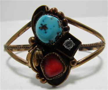 TURQUOISE CORAL CUFF BRACELET GOLD STERLING SILVER