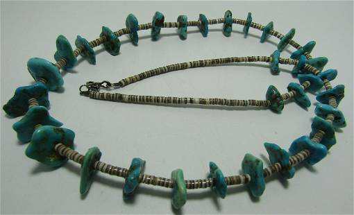 """TURQUOISE NUGGET & HEISHI SHELL BEAD NECKLACE 27"""""""