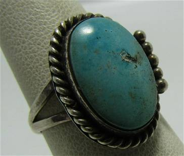 OLD PAWN TURQUOISE RING STERLING SILVER SIZE 7