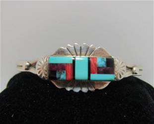 INLAID TURQUOISE SUGILITE STERLING CUFF BRACELET