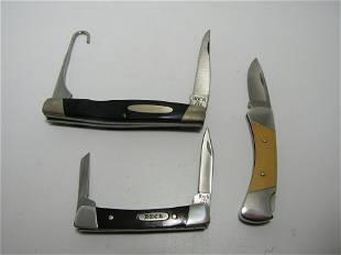 LOT OF 3 ALL BUCK FOLDING POCKET KNIVES