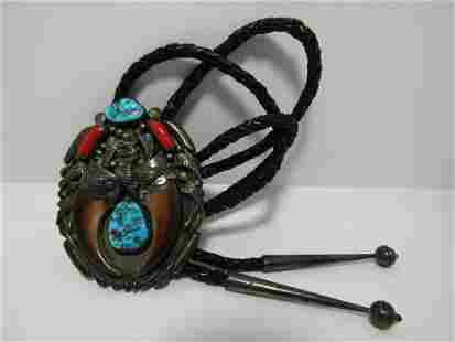D GORDON TURQUOISE BEAR CLAW STERLING BOLO TIE