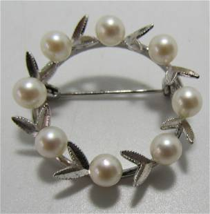8 CULTURED PEARL PIN STERLING SILVER BROOCH MCM