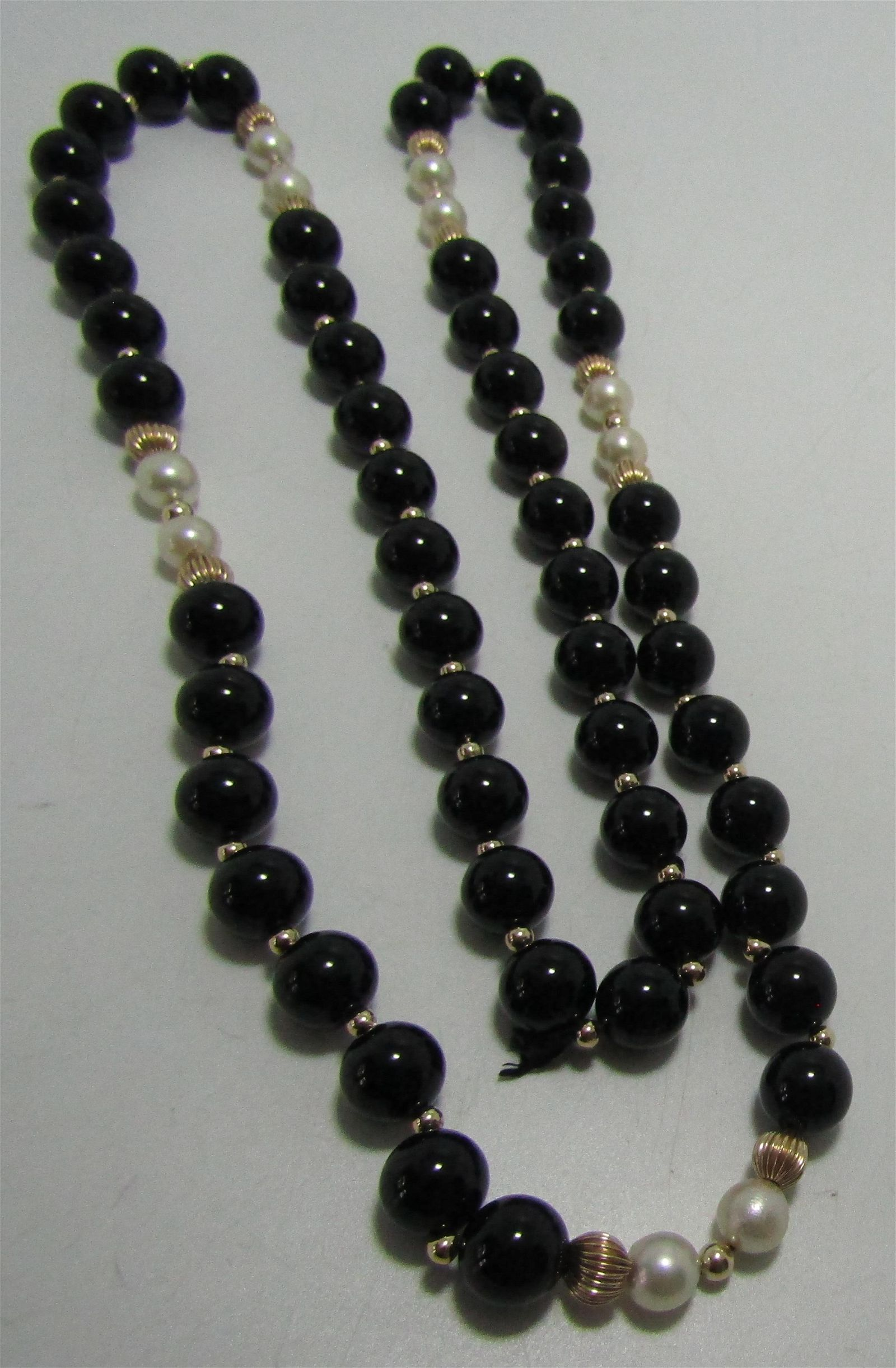 """GENUINE 14K GOLD ONYX & PEARL 32"""" BEAD NECKLACE"""