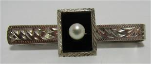 CULTURED PEARL ONYX TIE BAR STERLING SILVER