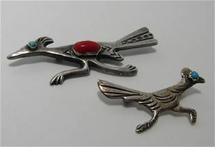 TWO OLD PAWN STERLING ROADRUNNER PIN BROOCHES