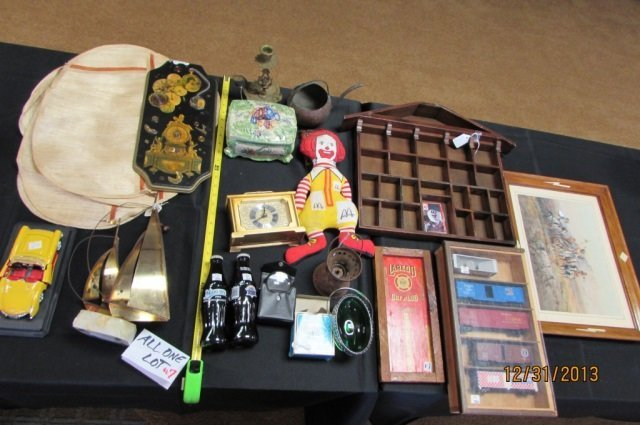 Assorted Lot Train Cars, Brass Boat, Art, Wood