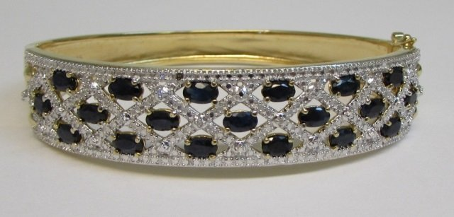 5 Carat Sapphire Gold on Sterling Bangle Bracelet