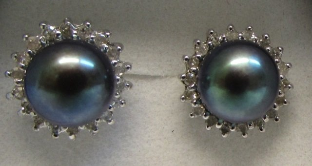 Black Pearl and Diamond 14kt White Gold Earrings