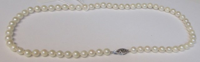 "14kt White Gold 16"" Pearl Necklace Filigree Catch"
