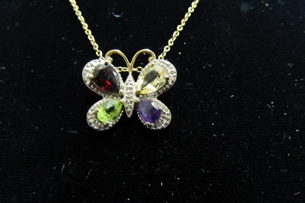 Multi-Color Gemstone Sterling Butterfly Necklace