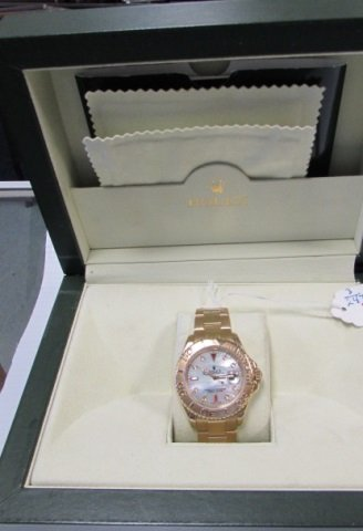 18k YG Yachtmaster Rolex Ruby & Diamond Dial & Box