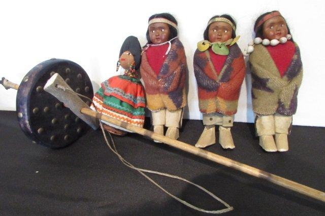 "4 Native American Dolls (7"" Tall) & Hand Drill"