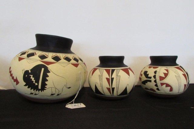"""3 Native American Pots - 7.5"""" (1) , 5"""" (2)"""