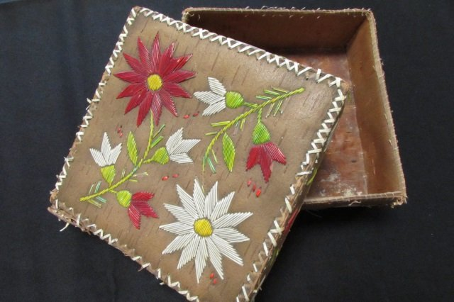 """Native American Quilled Embroidery Case 7""""x7""""x2.5"""""""