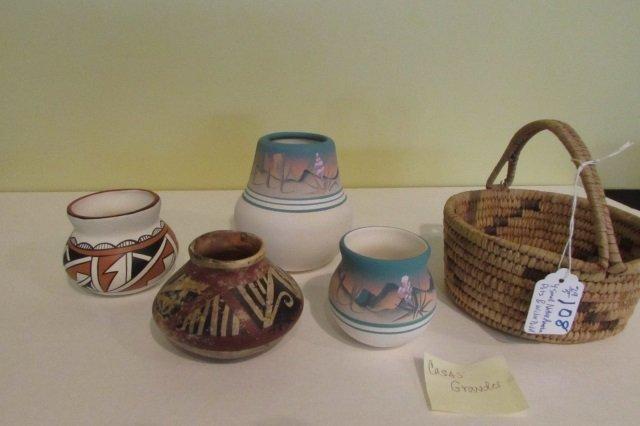 "4 Small Native American Bowls 4"" Wicker Basket 3"""