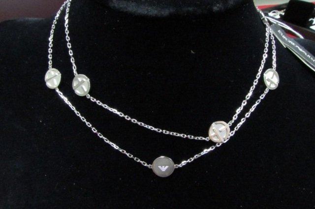 Emporio Armani Sterling Silver Logo Necklace Chain