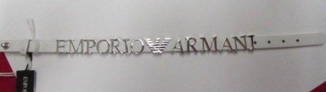 Emporio Armani Sterling Silver & Leather Bracelet
