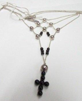 Emporio Armani Sterling Silver Onyx Necklace Cross