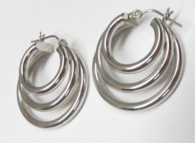 """14k White Gold Triple Hoop Earrings 1"""" Wide"""