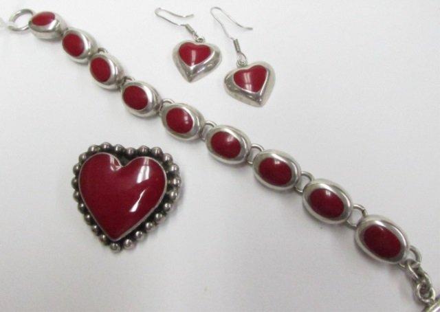 Taxco Red Enamel Heart Pin Bracelet & Earrings