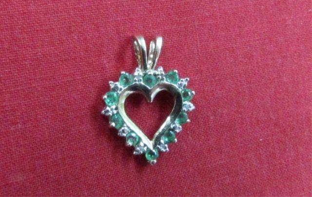 Emerald & Diamond Heart Pendant Necklace 10k Gold
