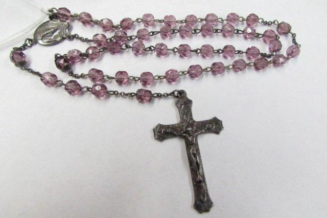 "Rosary Sterling Silver & Amethyst Crystal 24"""