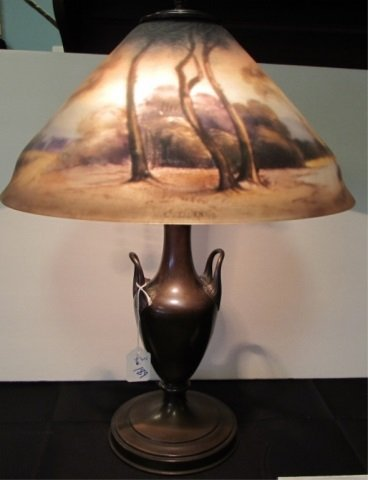 Pairpoint Lamp with Base and Painted Shade, signed