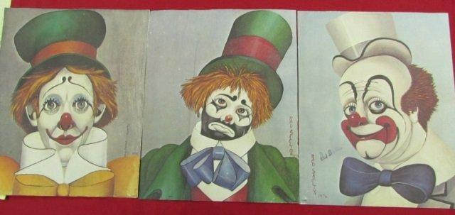 3 Red Skelton Clown Litho Prints Signed