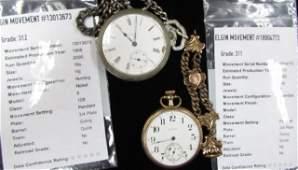2 Elgin Pocket Watches Victorian Watch Chain