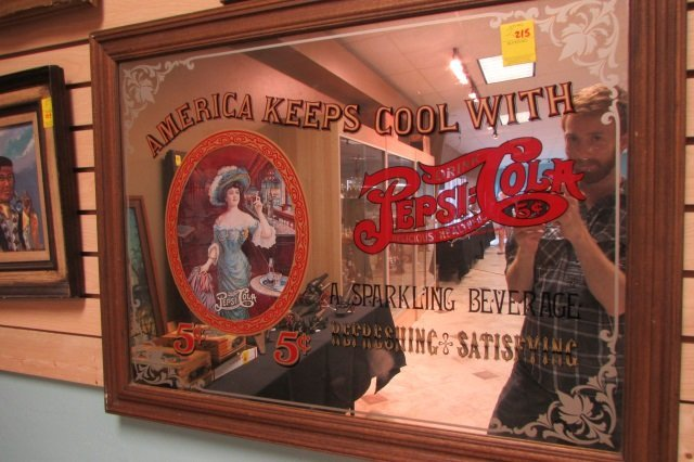 Pepsi-Cola Mirror Five Cent Advertising