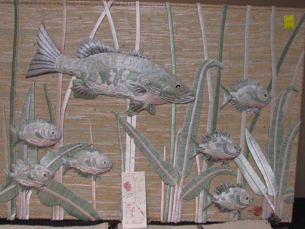 DON FREEDMAN TEXTILE PAINTING FISH WALL HANGING