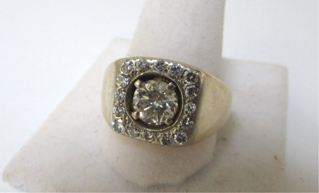 14K GOLD MEN'S 1.75cttw DIAMOND RING SIZE 11