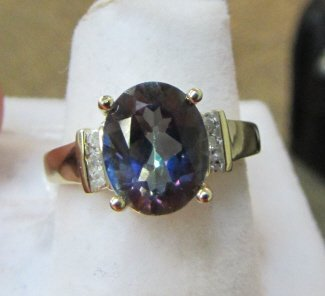 10K GOLD 8x10 MYSTIC TOPAZ 6 DIAMOND RING SZ 7-1/4
