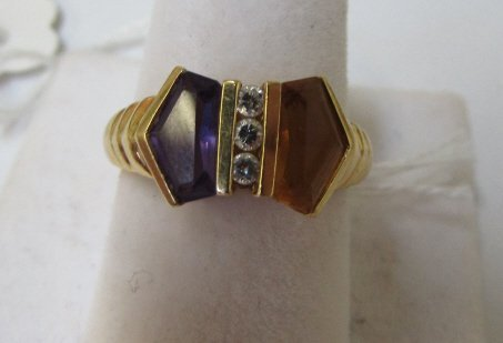 18K GOLD DIAMOND AMETHYST CITRINE RING SZ 6-3/4