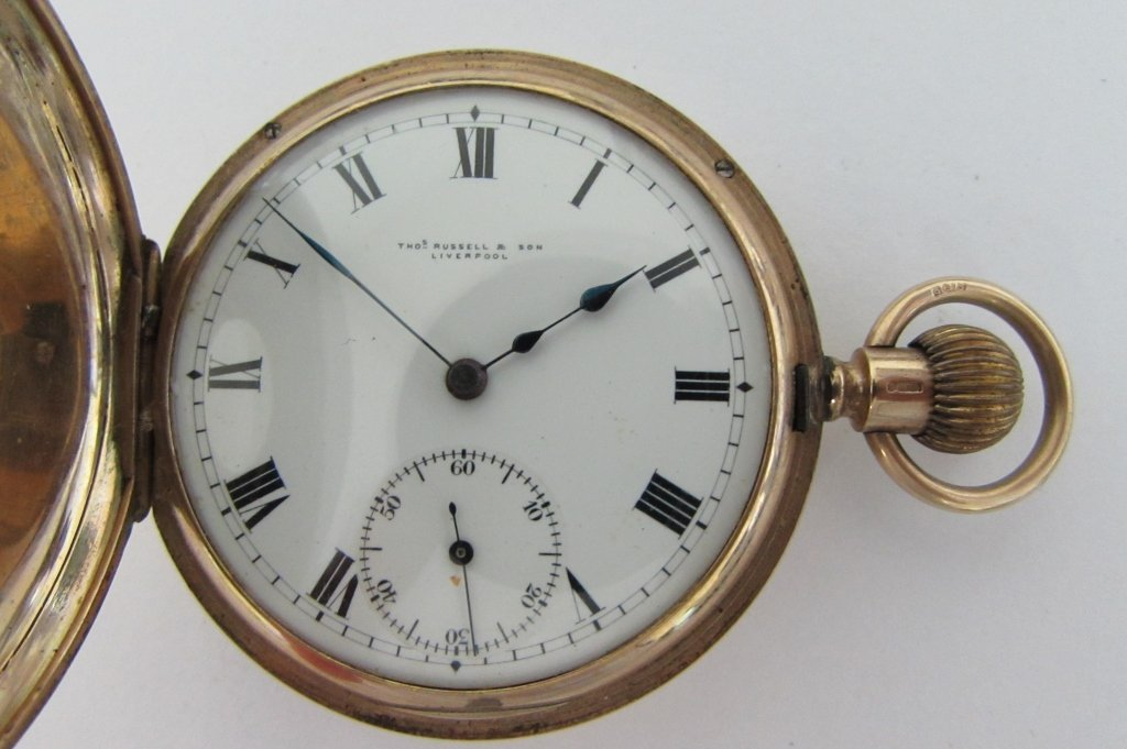 9k  THOMAS RUSSELL & SON POCKET WATCH DEMI-HUNTER