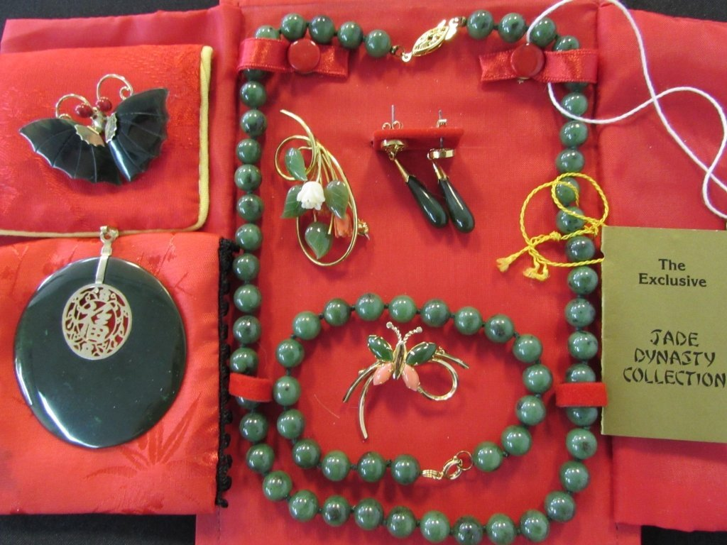 7 PC JADE & CORAL CHINESE JEWELRY SET